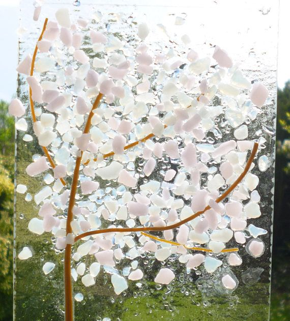 White And Pink Cherry Blossom Fused Glass Tree Suncatcher This Is A Very Tactile Design Using White And Pink Frit For T Fused Glass Fused Glass Art Pink Trees