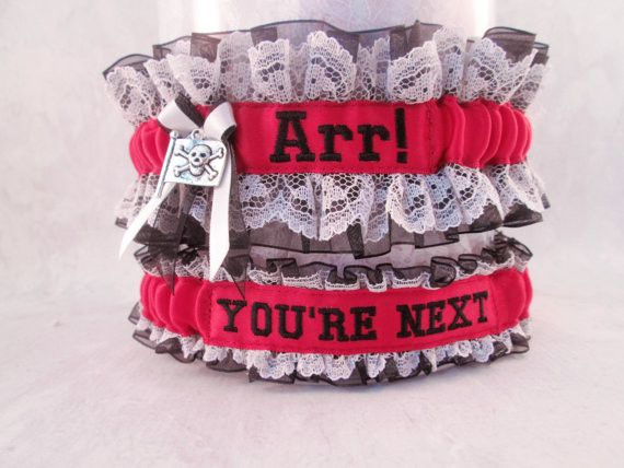 Custom Embroidered Pirate Wedding Garter Set - Personalized Wedding Garter Set.