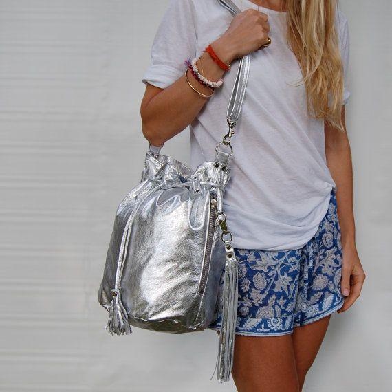 Bucket bag in silver by valhallabrooklyn on Etsy, $185, 10x8x14.5