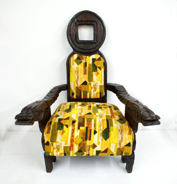 carved witco dragon chair mid century modern by