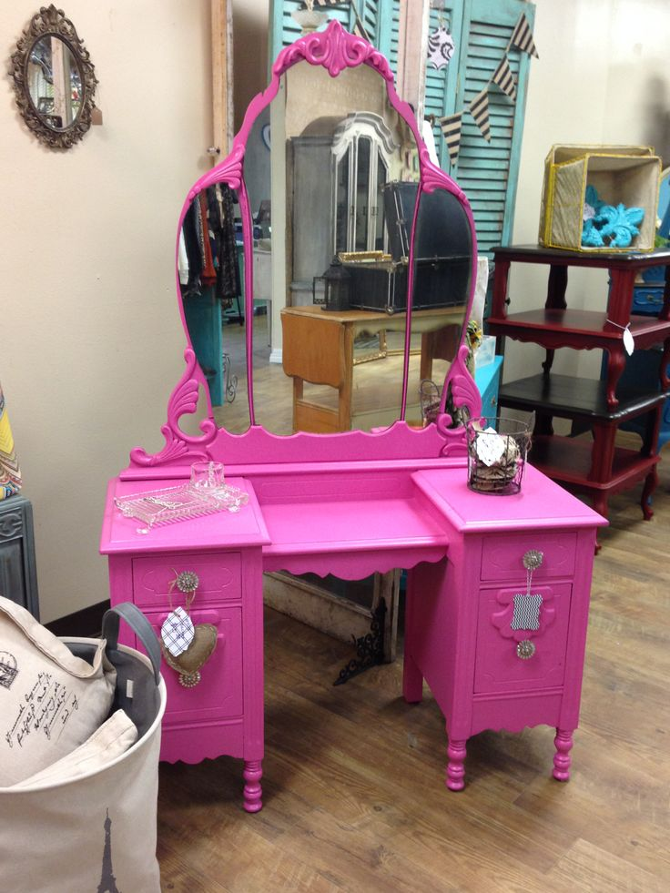Hot Pink Antique Vanity painted by Antoinette's Home Decor & More, www.facebook.com/antoinetteshomedecor