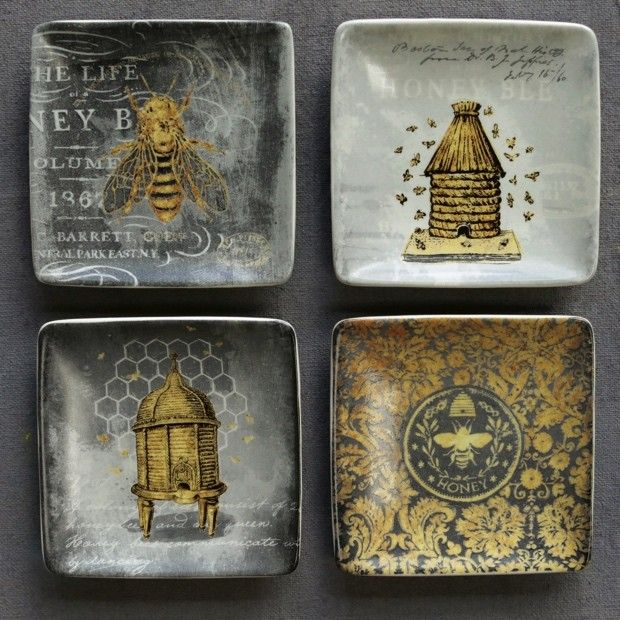 Bee Stoneware Square Plates | source: antiquefarmhouse