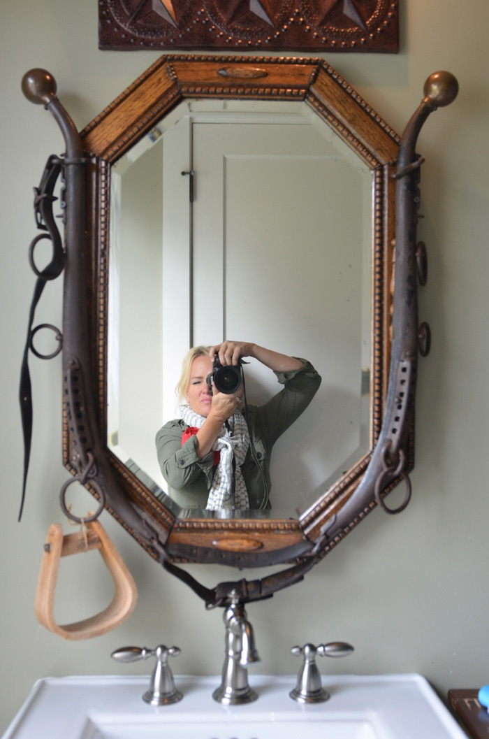 Mirror with horse hame frame