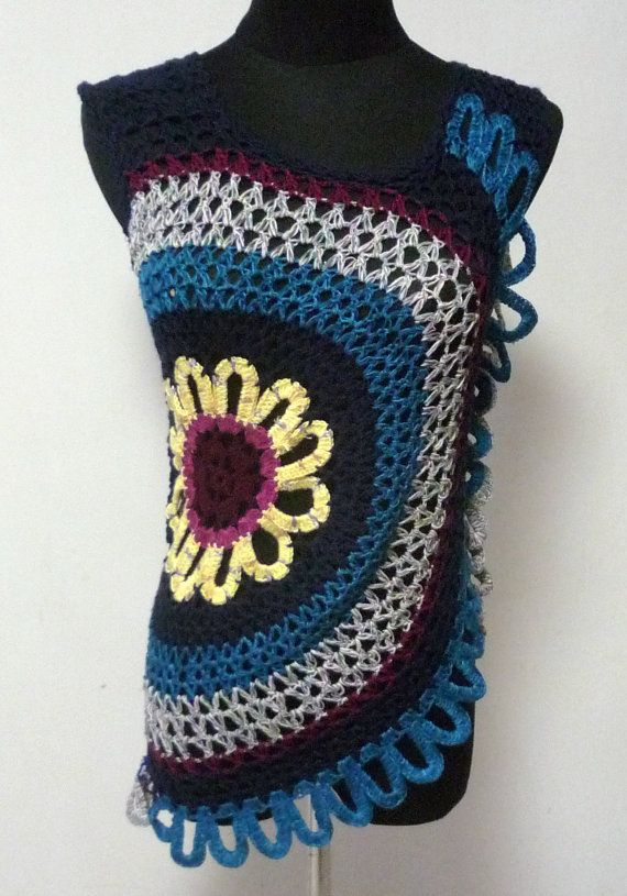 Blusa tejida circulo, crochet