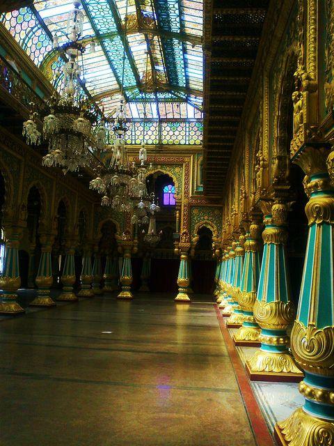 Ballroom inside Mysore Palace, Karnataka, India ~ photo by profmpc (MP Chandrasekharan).