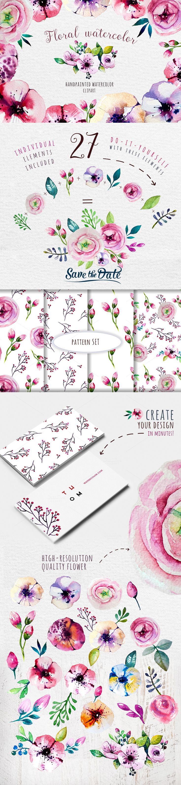 feminine clip art floral pink girly flowers hand-painted watercolor
