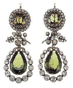 Earrings from the peridot parure of Archduchess  Isabella of Austria. http://royal-jewels.blogspot.co.uk/2006_03_01_archive.html#