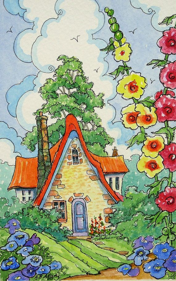 Home Sweet Cottage Home Storybook Cottage Series print from Original Art