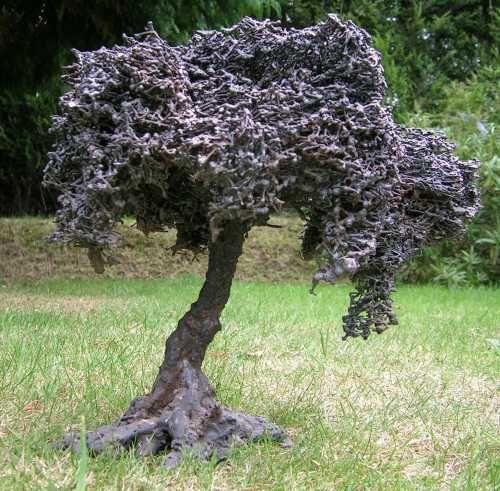 Iron or iron/bronze Abstract Garden sculpture by artist Mitchell House titled: Olive Tree (bronze miniature sculpture)