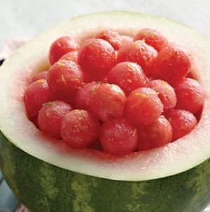 So fresh and so good. Toss watermelon with honey, orange and lime zest and ginger ale for a refreshing appetizer, side dish or dessert. Serve in the hollowed-out melon.  Use SF Ginger Ale