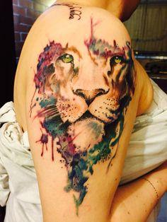 Watercolor lion, León de Judá, gracias a Shamu Acosta. Work Tatto Walkup