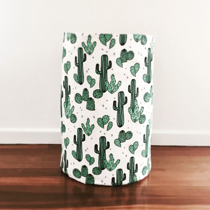 XL toy basket in a gorgeous cactus print perfect addition to a child's bedroom or playroom.