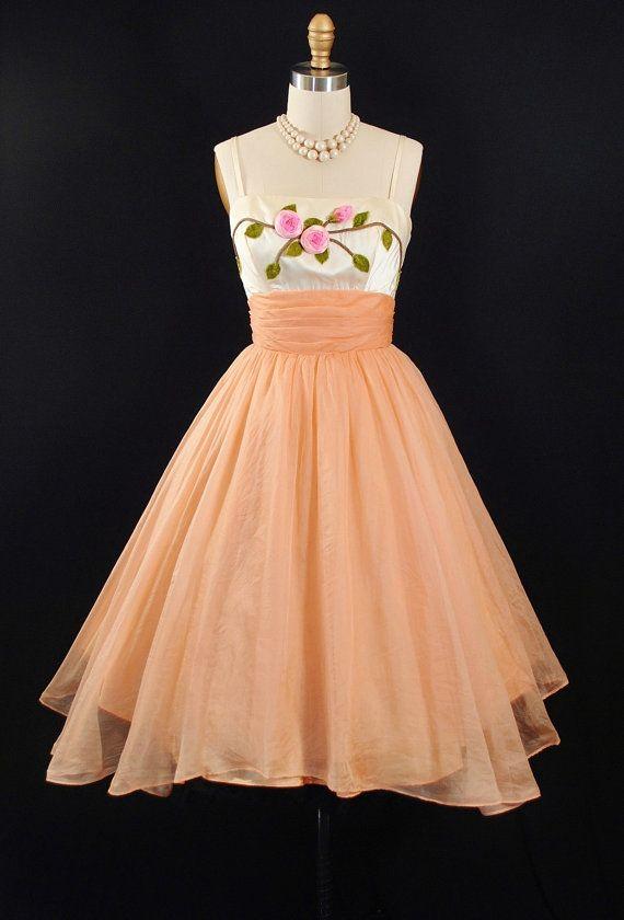 Vintage 1950s Peach Sheer Organza 3D Floral by GeronimoVintage