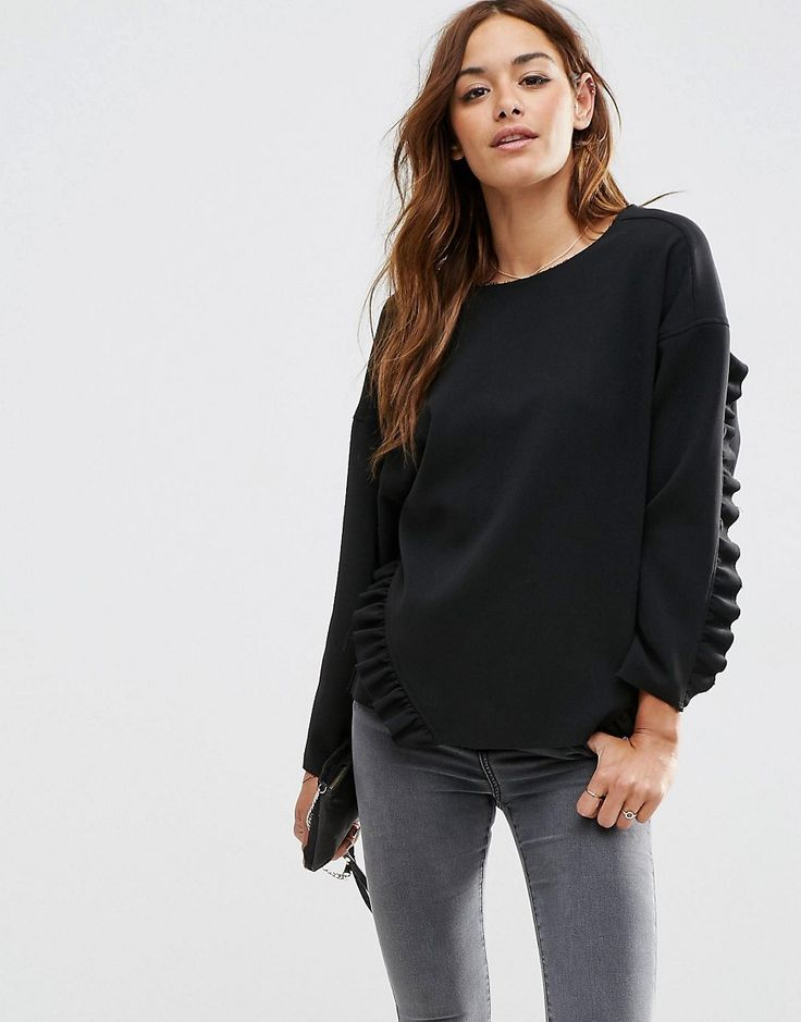 asos oversize top with ruffle detail raw edge