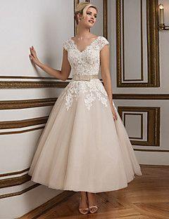 Hochzeitskleid - Champagner Spitze / Satin / Tüll - A-Linie - Knöchellänge - V-Ausschnitt