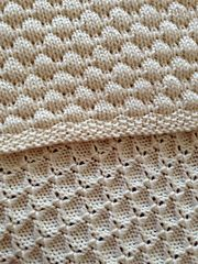 This pattern can easily be modified to make it larger or smaller as well as changing the border. The coin stitch pattern is a multiple of 4 stitches plus 1.