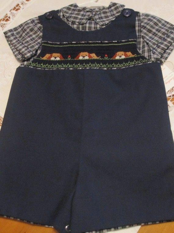 Size 3T Boy's Jumper suit 2 piece por SmockingByGinaBug en Etsy, $65.00