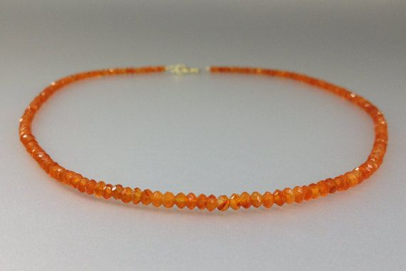 Check out Fine Carnelian faceted necklace with 14K gold plated clasp - gift idea on gemorydesign