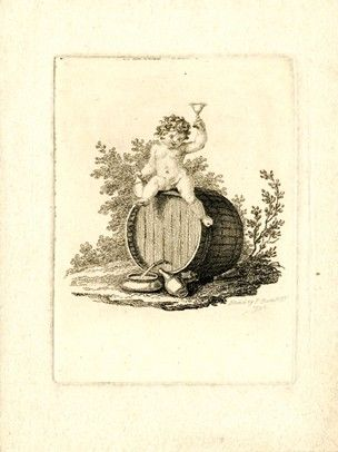 The infant Bacchus, naked, sitting on top of a barrel, holding a vessel in his right hand; his left arm uplifted, holding a chalice; unfinished proof.  1796  Etching