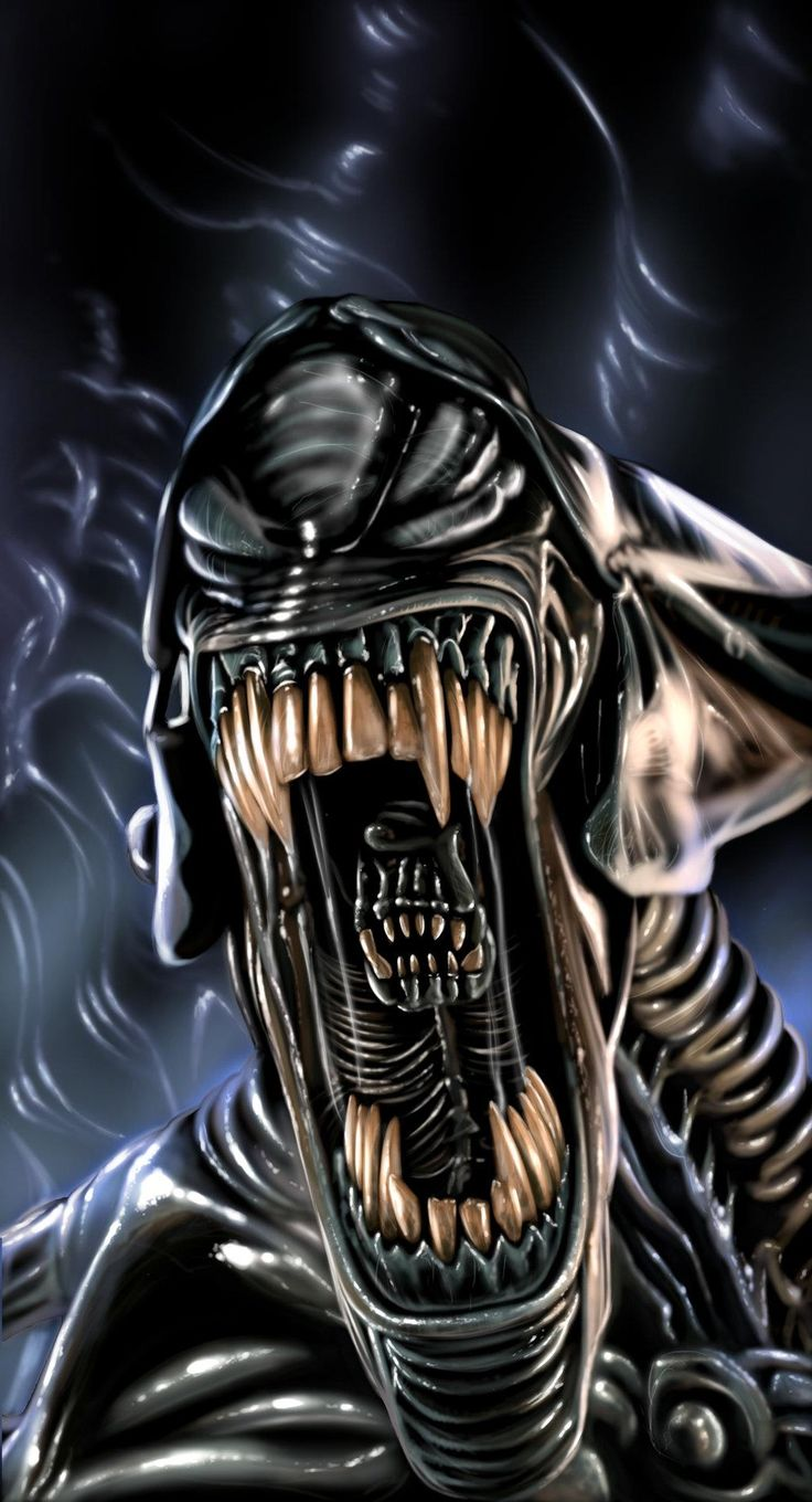 Queen Aliens are significantly larger and stronger than the basic Warrior, and other casts of Xenomorphs. They are approximately 20 feet tall at the hip and 53 feet in length. Their body structure differs also, having two pairs of arms, one large and one small. The Queen's head is larger than other adult Aliens and is protected by a large, flat crest, like a crown, which can vary from Queen-to-Queen. Unlike other Aliens, the queen also has high heel protrusions from its feet.