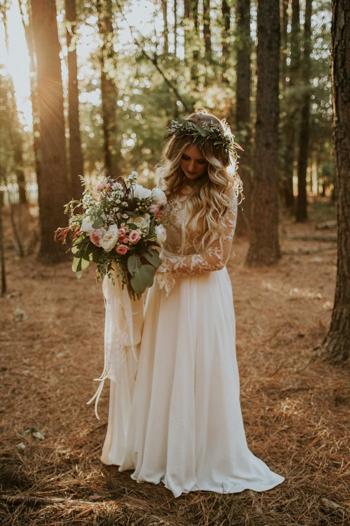 Long-sleeved lace Rue De Seine wedding dress & blush and matte green bouquet