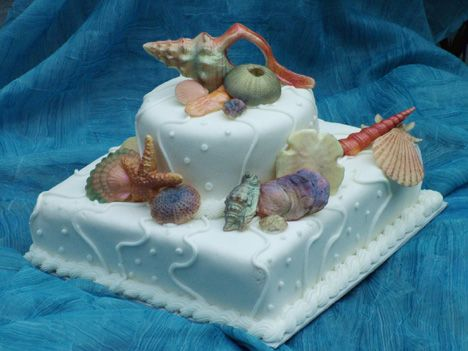 Small ocean and water themed cakes