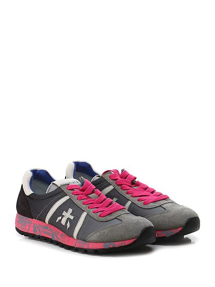 PREMIATA - Sneakers - Donna - Sneaker in camoscio, pelle e tessuto tecnico con suola in gomma loggata. Tacco 30, platform 20 con battuta 10. - 1314 ROSA\ANTRACITE - € 185.00