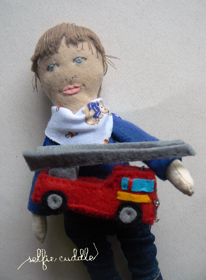 Personalised handmade fabric dolls, portrait dolls, art dolls, embroidery, the doll of a small boy with firetruck