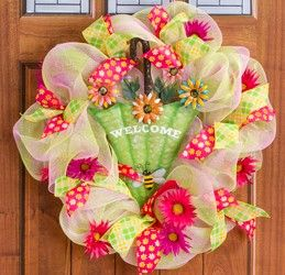 Ribbon & Mesh Umbrella Wreath