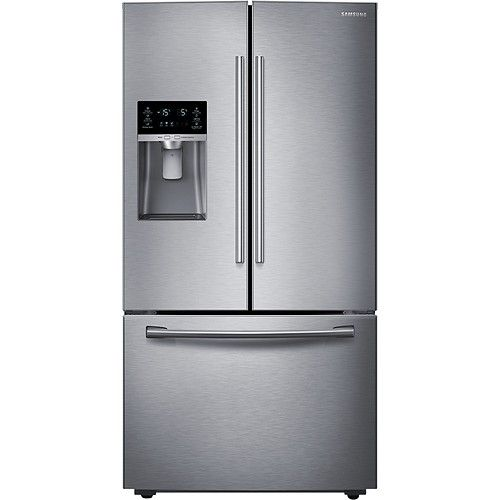 Samsung - 28.1 Cu. Ft. French Door Refrigerator with Thru-the-Door Ice and Water - Stainless-Steel - Larger Front