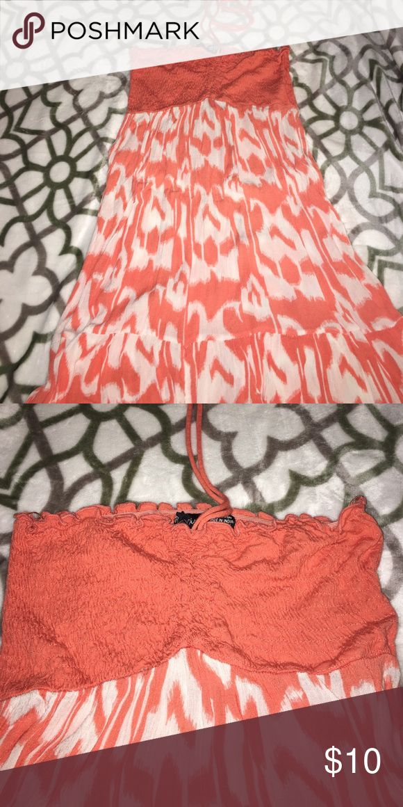 👗Orange Beach Dress👗 Worn Once, Orange and White, Strapless, Tie for Neck Raviya Dresses