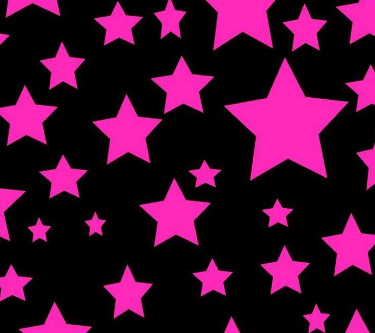 黒背景に濃いピンクの星柄