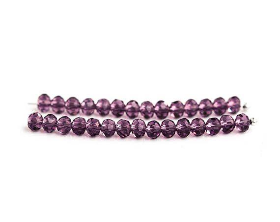 2651 Purple transparent beads 4x3 mm Crystal glass beads