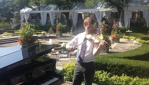 Neil (& hidden Brent) enjoying the sun before a ceremony at Graydon Hall Manor