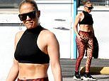 Jennifer Lopez 50 flaunts taut abs in crop top in Miami as she preps for Super Bowl halftime show