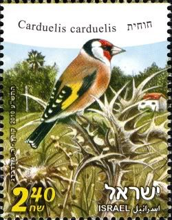 Goldfinch stamp from Israel