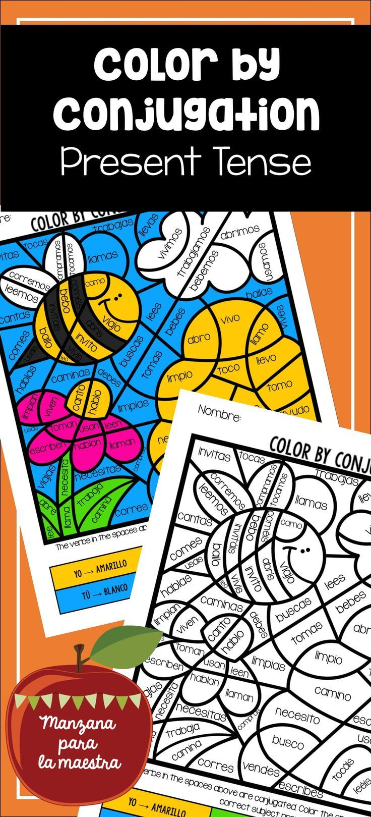 Spanish Conjugation Coloring Regular Present Tense Verbs Lesson Fun Activity Verbs Activities Verbs Lessons Present Tense Spanish [ 1619 x 736 Pixel ]