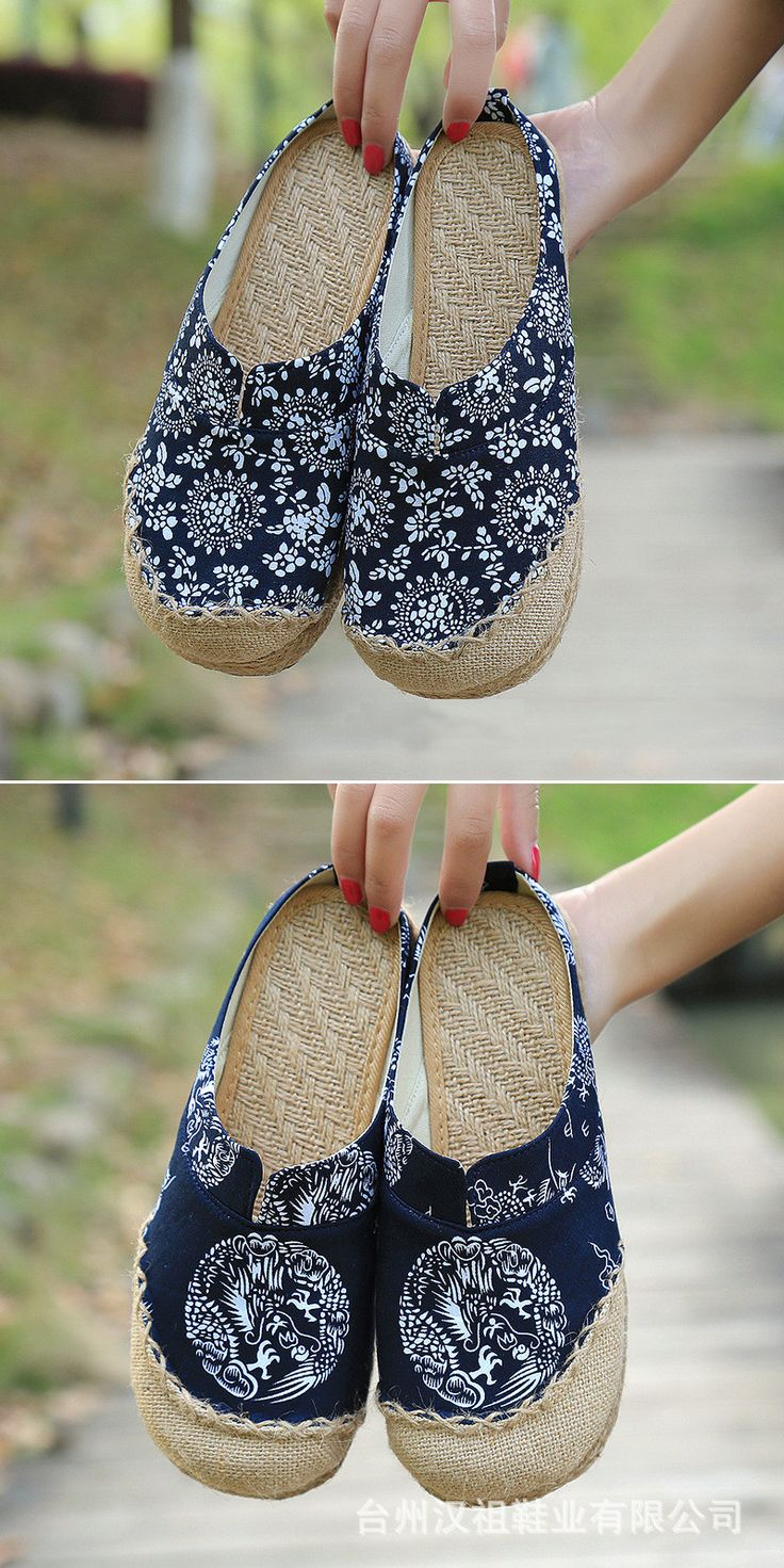 Dargon Flower Print Flax Open Heel Color Match National Wind Slip On Flat  Shoes b0ea786bd5f1