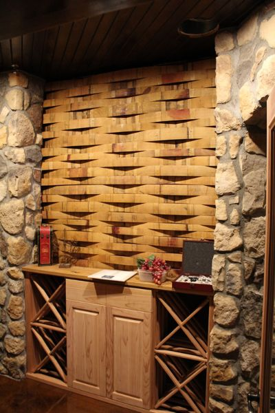 Wine Barrel Stave accent wall in Custom Wine Cellar ...