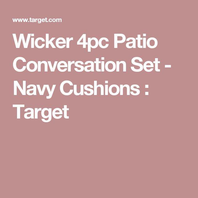 Wicker 4pc Patio Conversation Set - Navy Cushions : Target