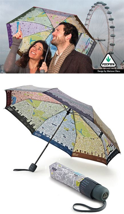 London Brollymap A clever umbrella/map hybrid designed by Mariona Otero. We'd love to see a tech enhanced edition that shows yourGPSlocationand tazers muggers. Available here (via @ThePunographer)