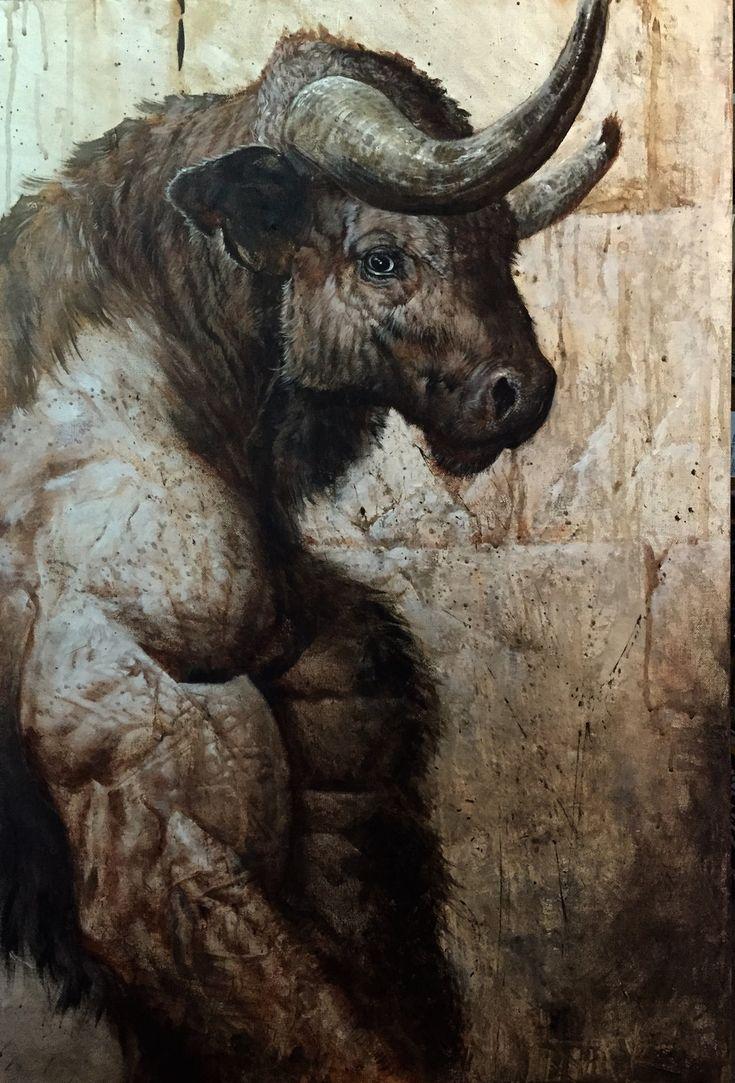 Minotaur by LiamSharp acrylic on canvas monster beast ...