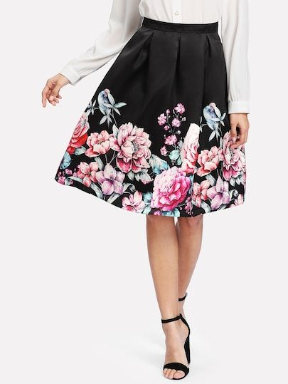 4886c8de70 Shop Boxed Pleated Flower Print Skirt online. SheIn offers Boxed Pleated  Flower Print Skirt & more to fit your fashionable needs.