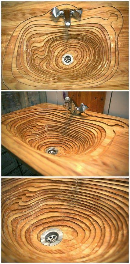 Wood washbasin, wood sink