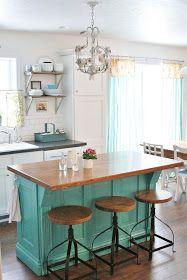 Turquoise kitchen island: Flower Patch Farmgirl
