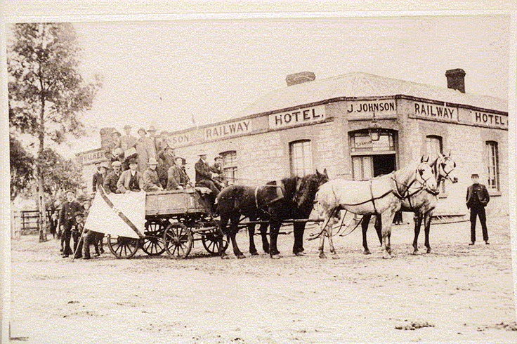 Railway Hotel with horse and cart