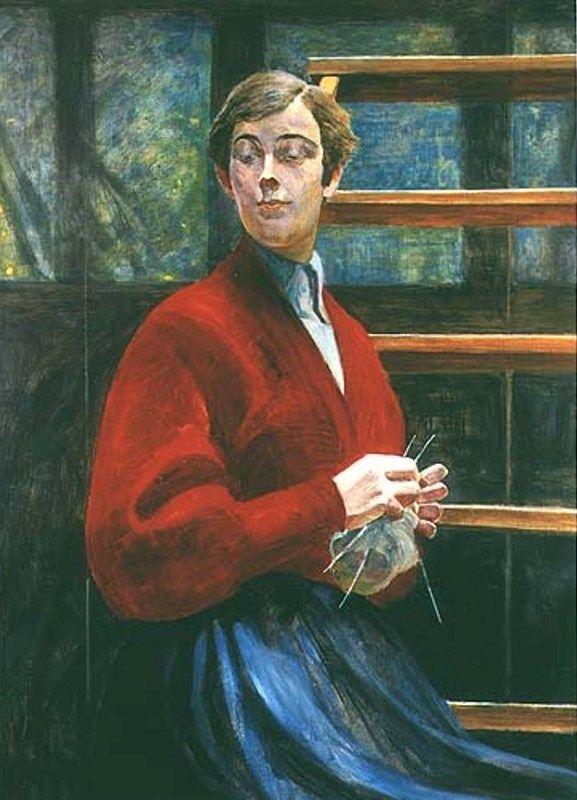 Jacek Malczewski - Girl with hand knitting in her hands