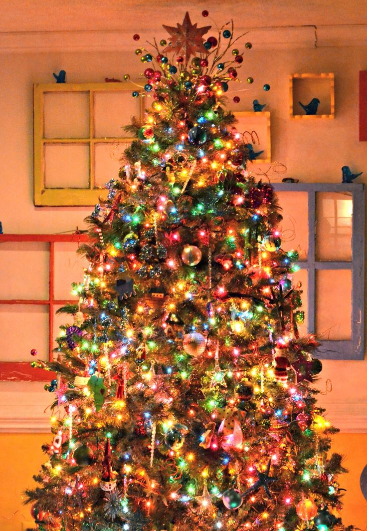 Brightly Shining Beautiful Christmas Tree Decoration Ideas with Cool  Colorful Lights, Star Topper, and Sparkling Christmas Baubles.