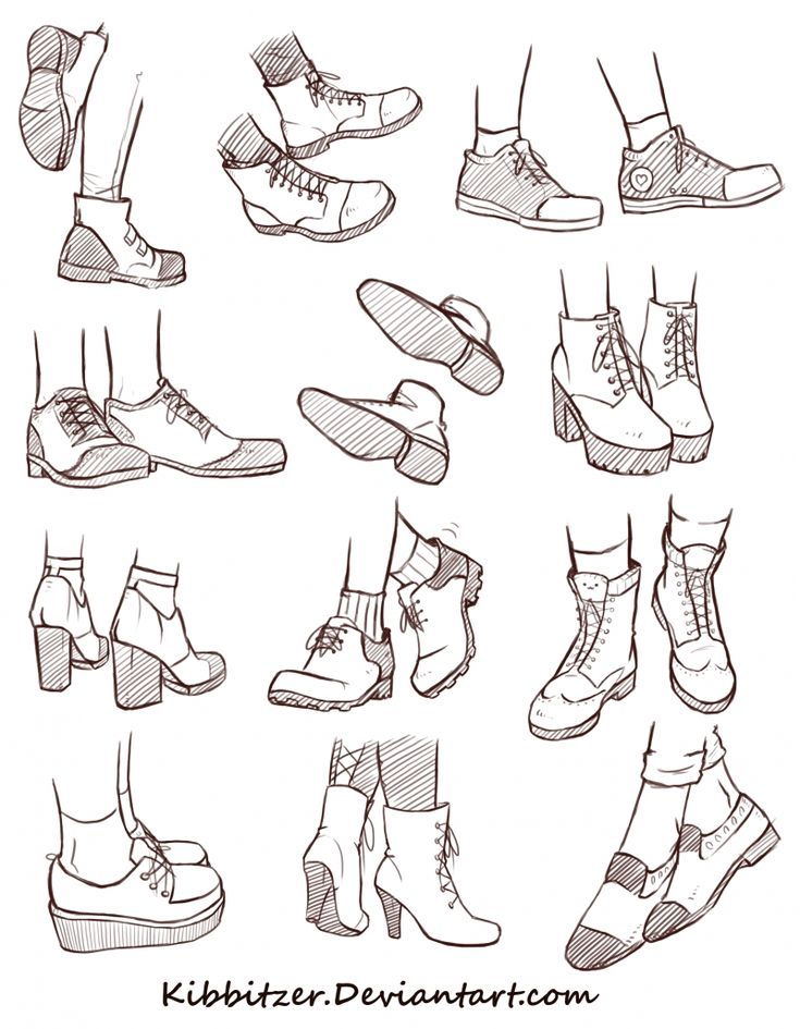 Shoes Reference Sheet 2 | how to draw shoes