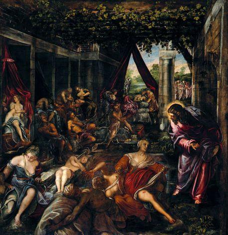 The Pool at Bathesda - Tintoretto.  1579-81.  Oil on canvas.  533 x 529 cm.  Sala Superiore, Scuola Grande di San Rocco, Venice, Italy.